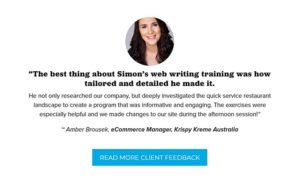 web writing training testimonial